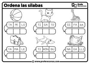 Fichas de silabas para niños
