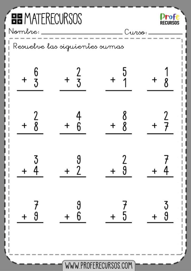 Fichas de Sumas de 1 digito o Cifra