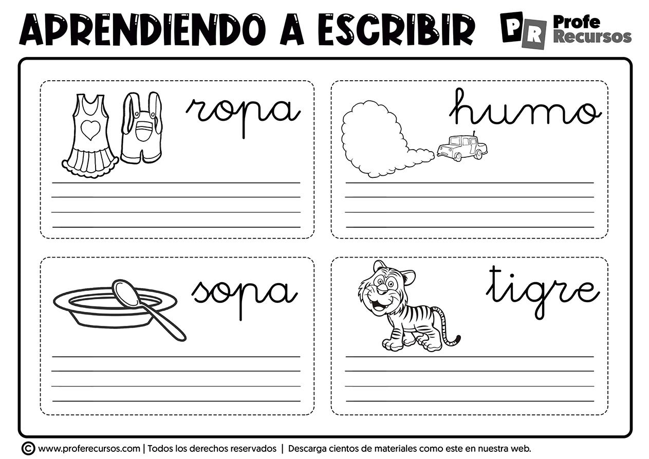 Fichas de vocabulario para niños