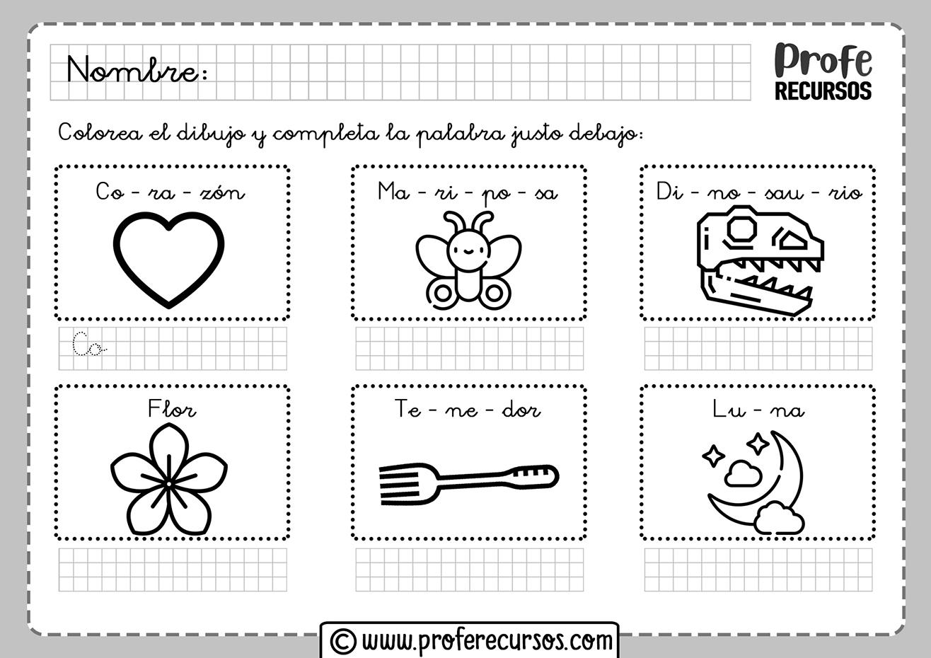 Fichas para niños para trabajar las silabas