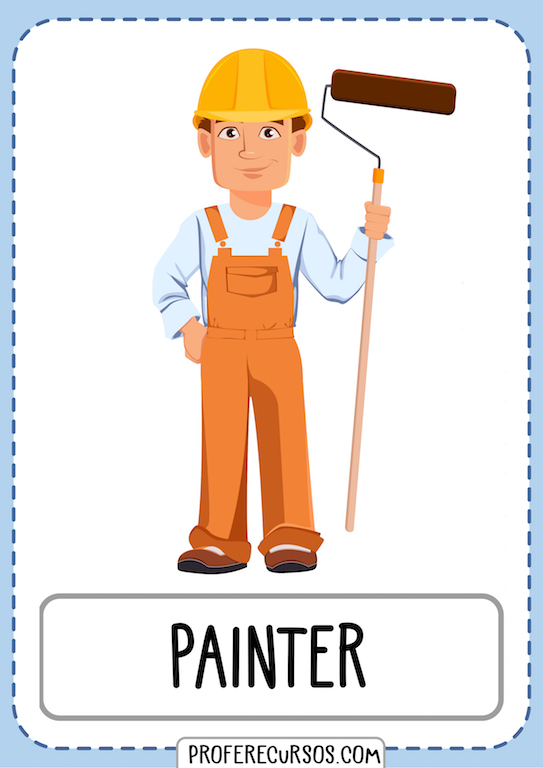 Jobs Professions Vocabulary Painter Man