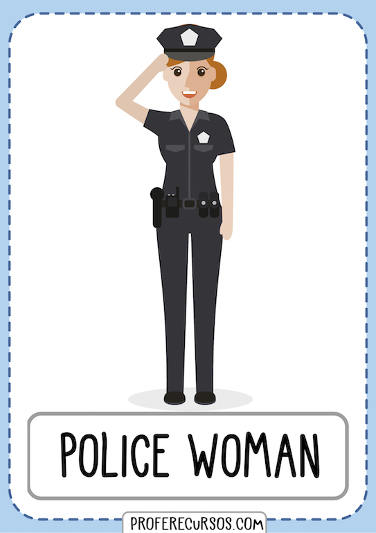 Jobs Professions Vocabulary Policewoman