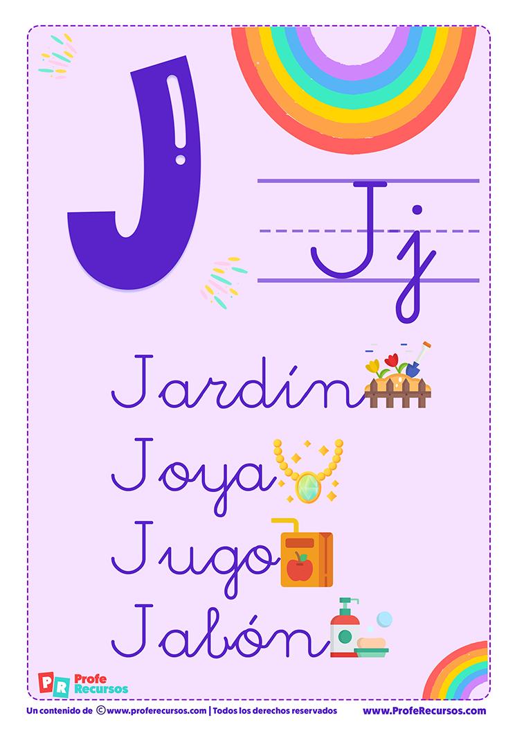 La letra j para imprimir