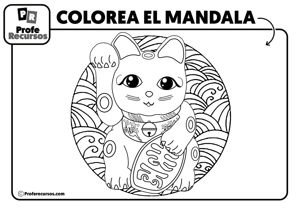 Mandala de gato para niños