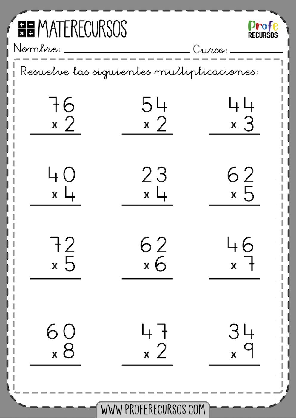 Multiplicaciones 1 Cifra Primaria