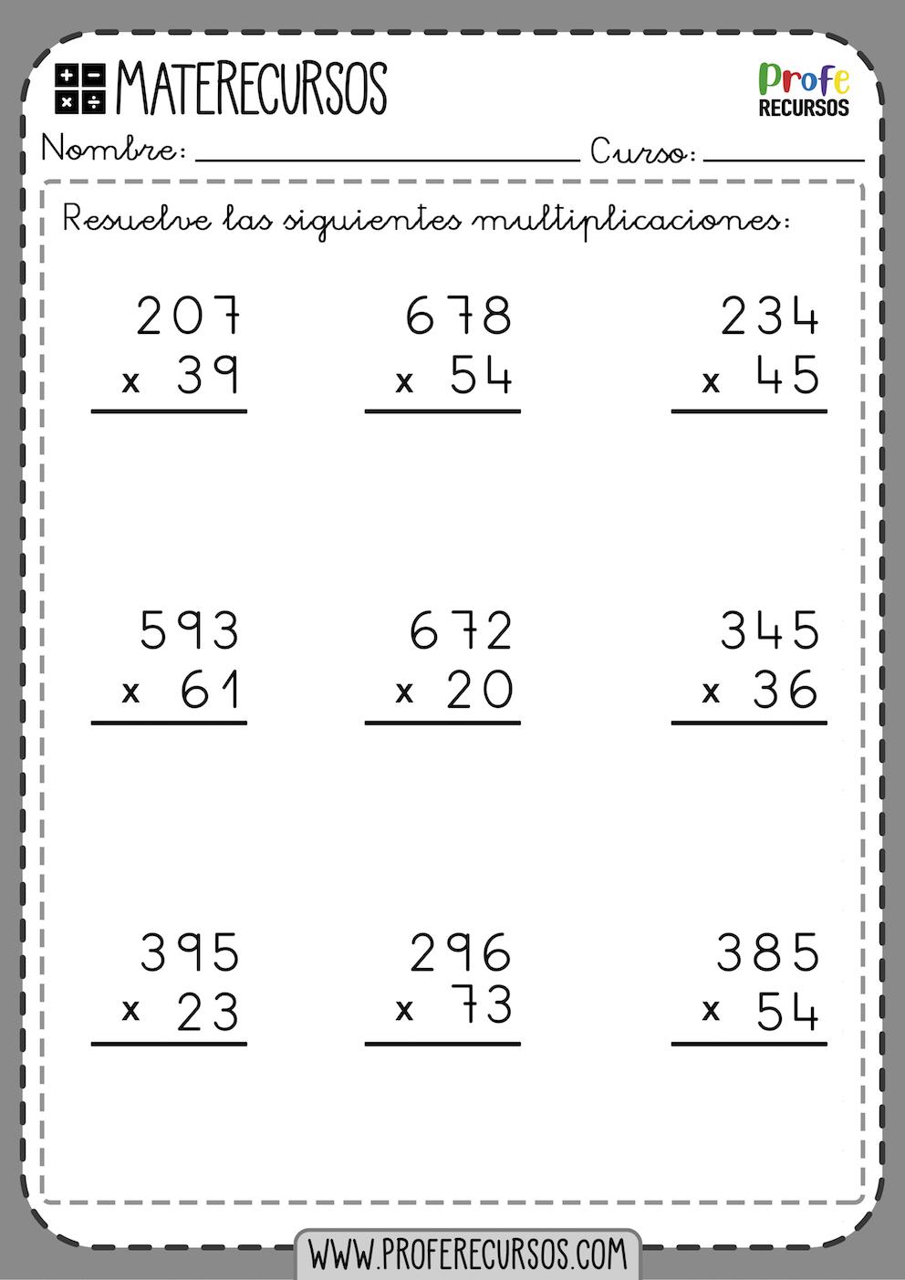 Multiplicaciones Numeros 3 Digitos