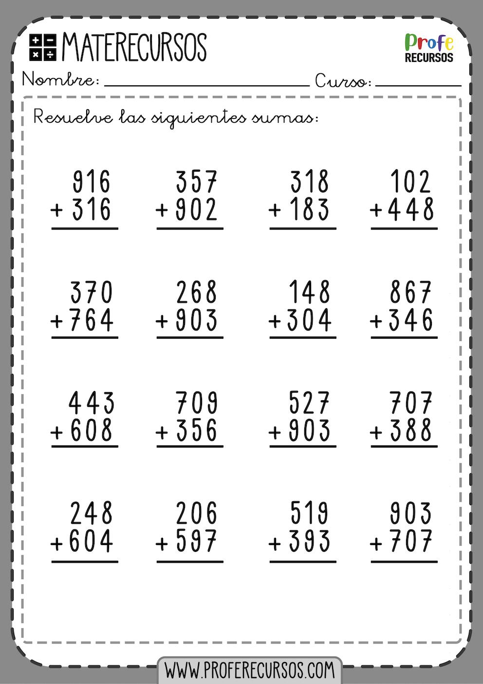 Operaciones Sumas 3 cifras con llevadas