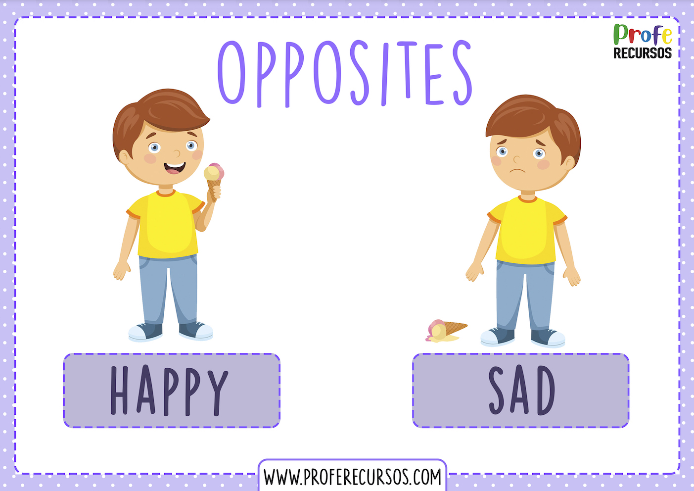 Opposites flashcards english class