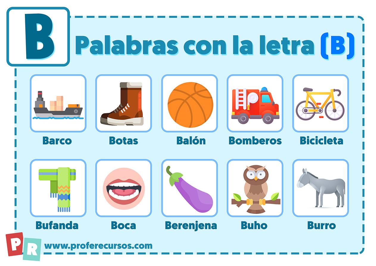 Palabras con b para niños