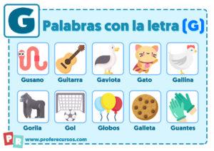 Palabras con g para niños