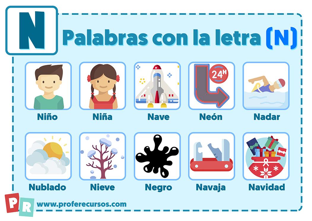 Palabras con n para niños