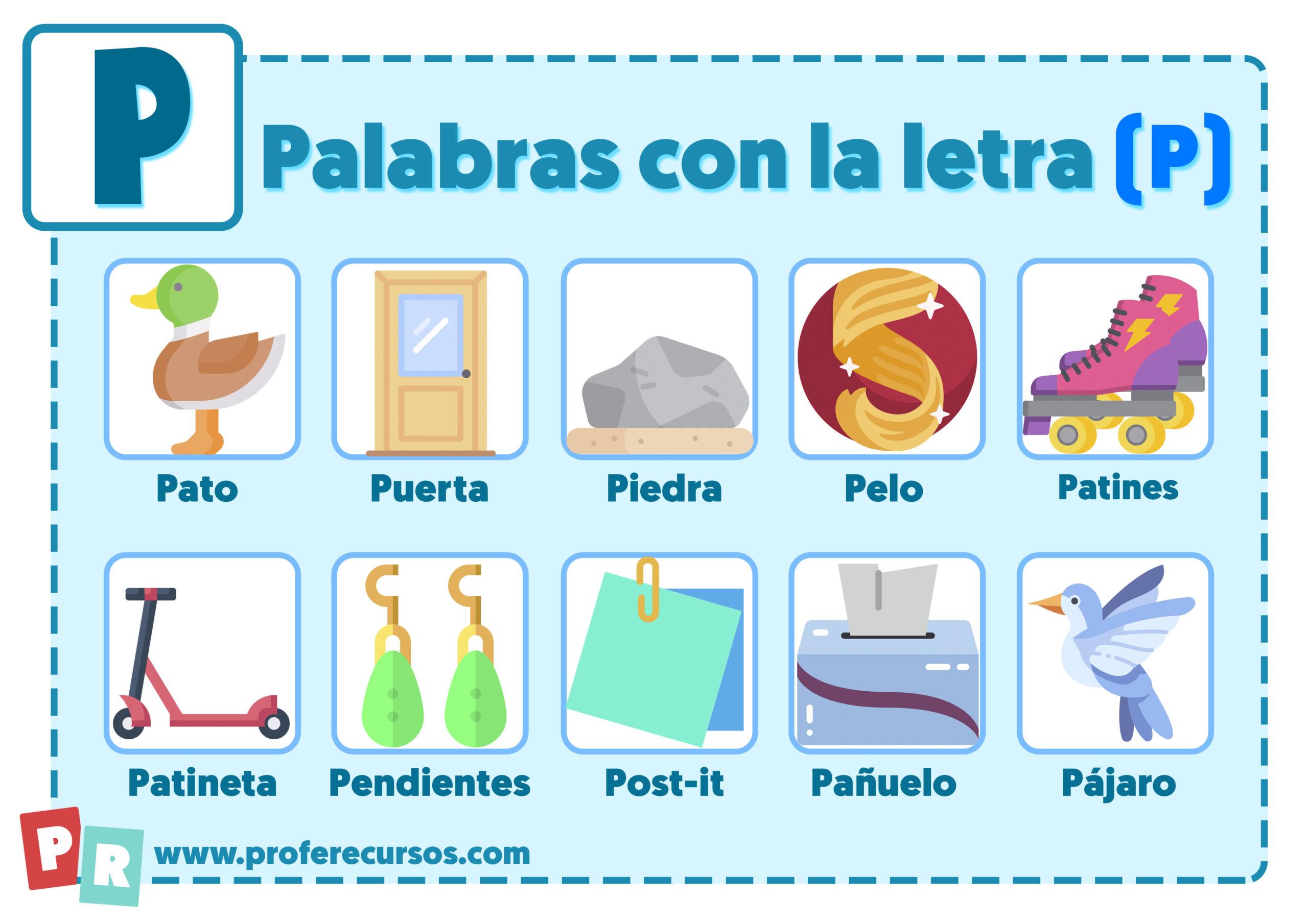 Palabras con p para niños
