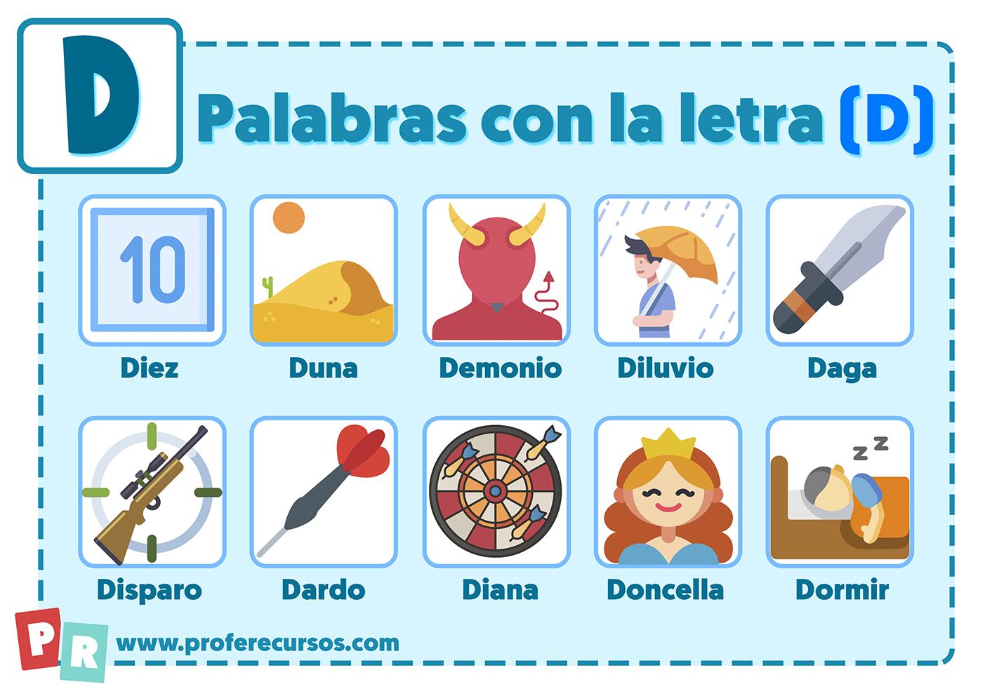 Palabras con la letra d para niños