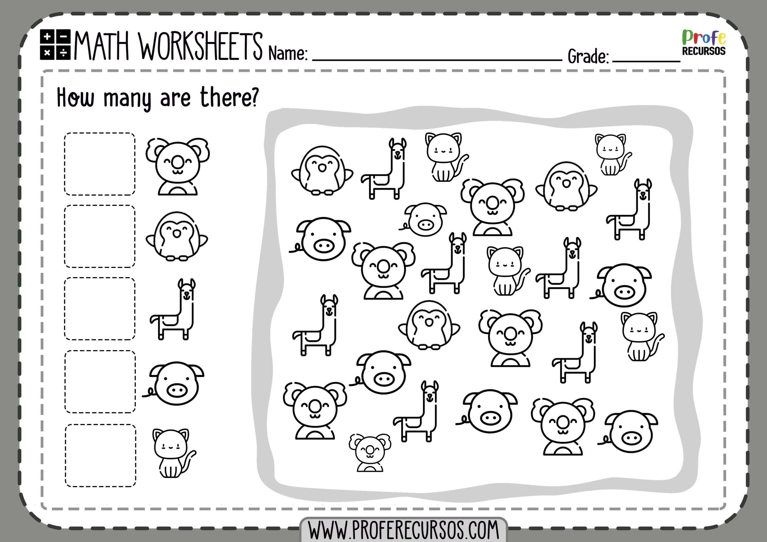 Printable Counting Numbers Worksheets