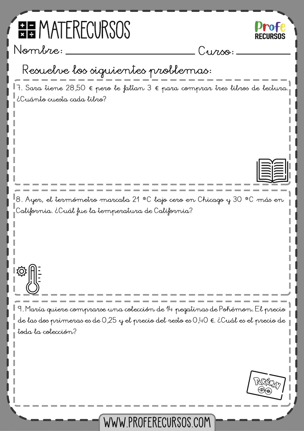 Problemas de matematicas 6 primaria para imprimir
