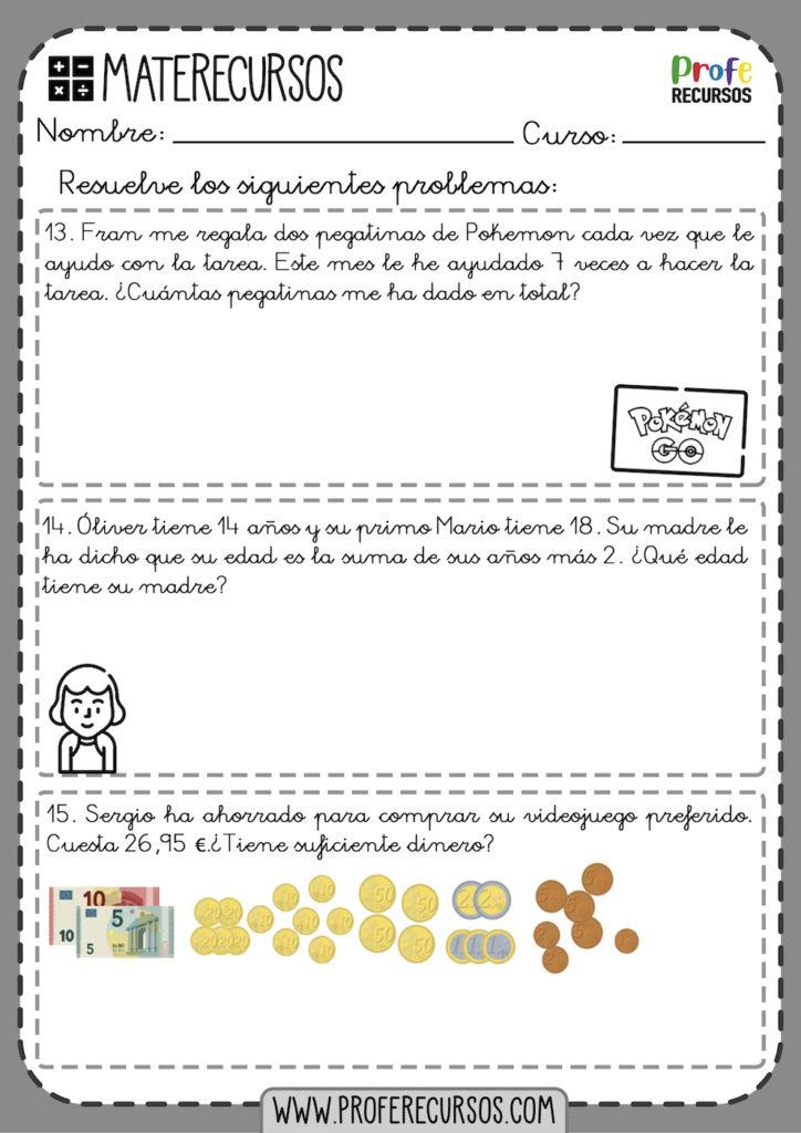 Problemas de matematicas para niños 3 primaria