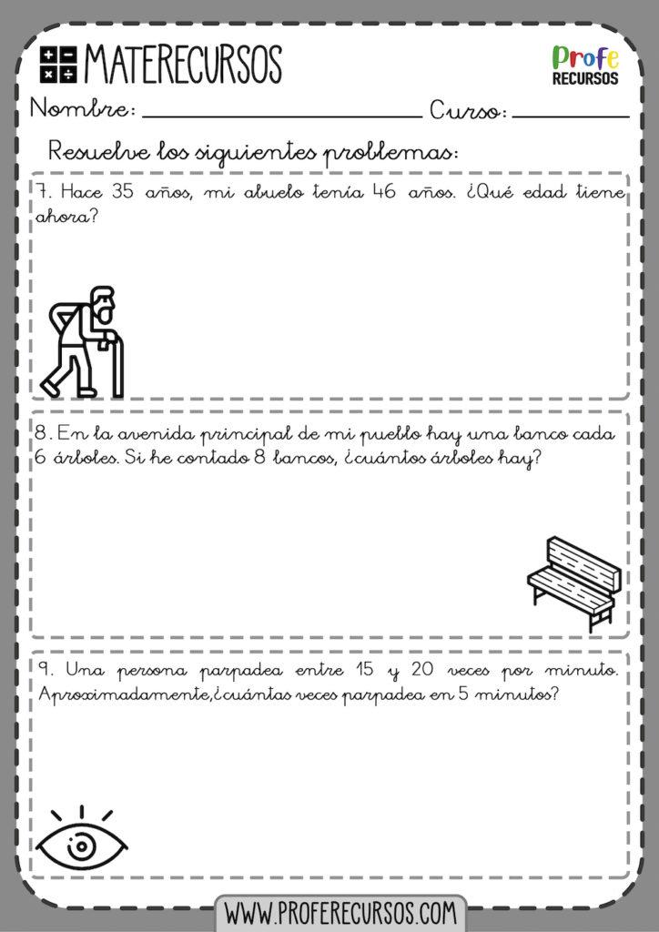 Problemas de repaso 3º primaria