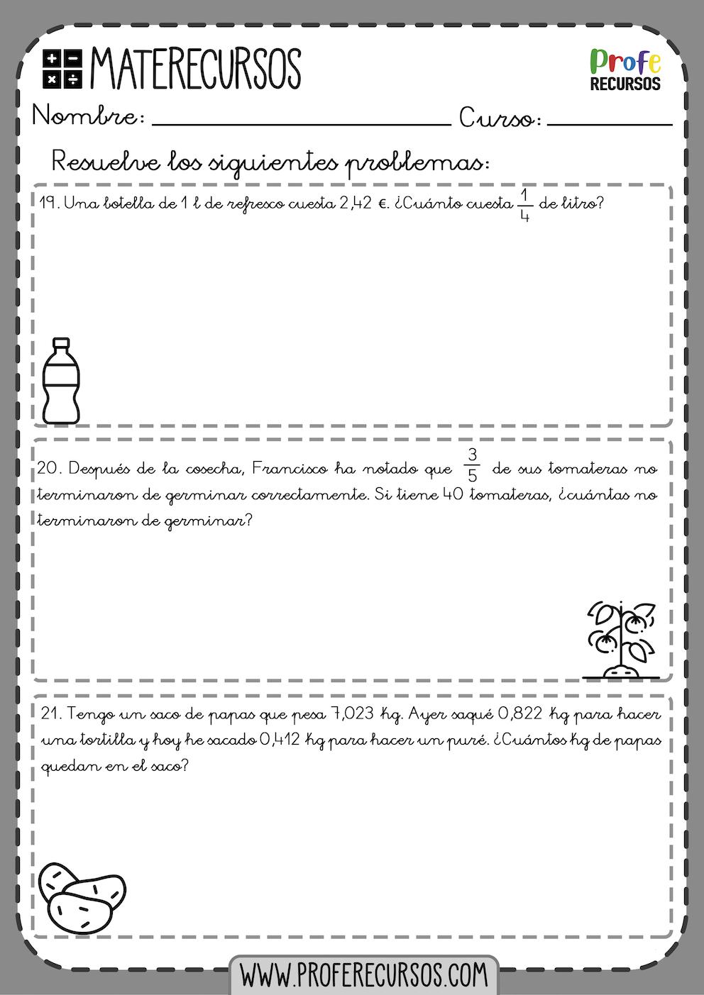 Problemas quinto de primaria para imprimir