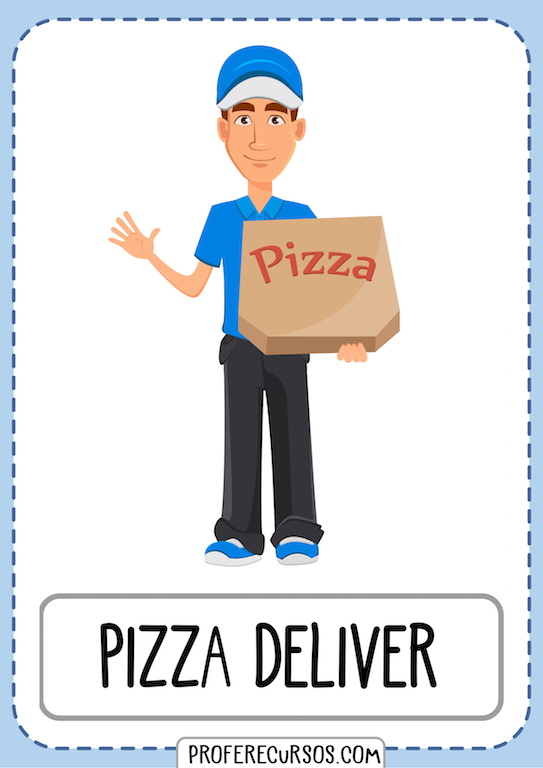 Professions Jobs Vocabulary Flashcards Pizza Deliver
