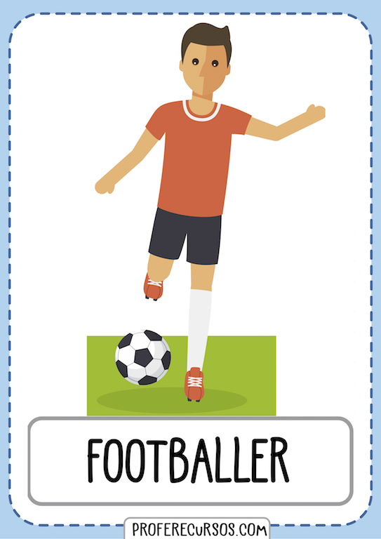 Professions Vocabulary Flashcards Footballer