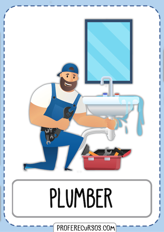 Professions Vocabulary Flashcards Plumber