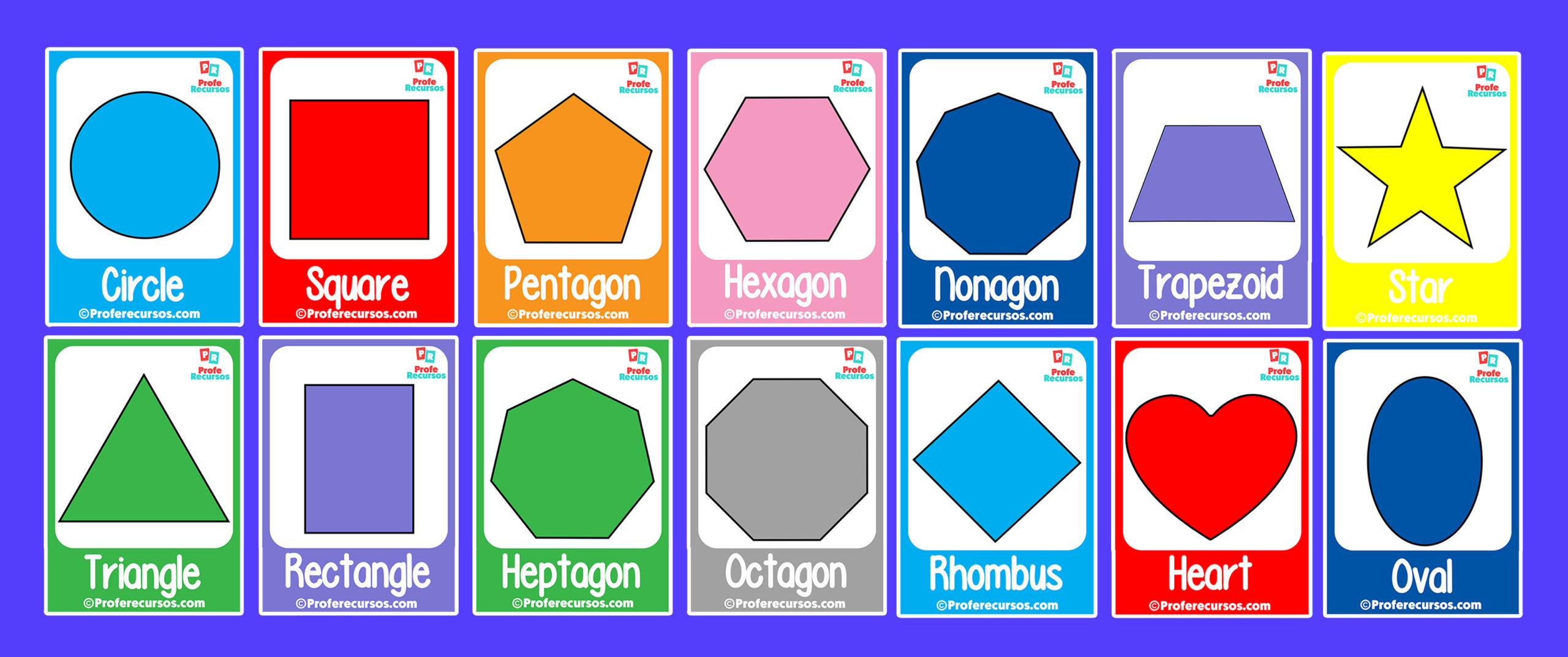 Shapes cards for kids