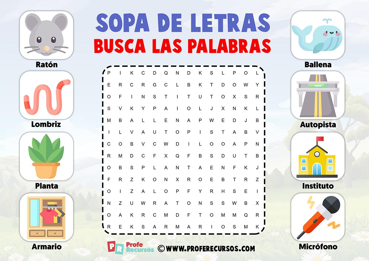 Sopas de letras faciles para niños