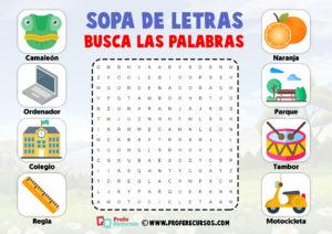 Sopas de letras para imprimir para niños