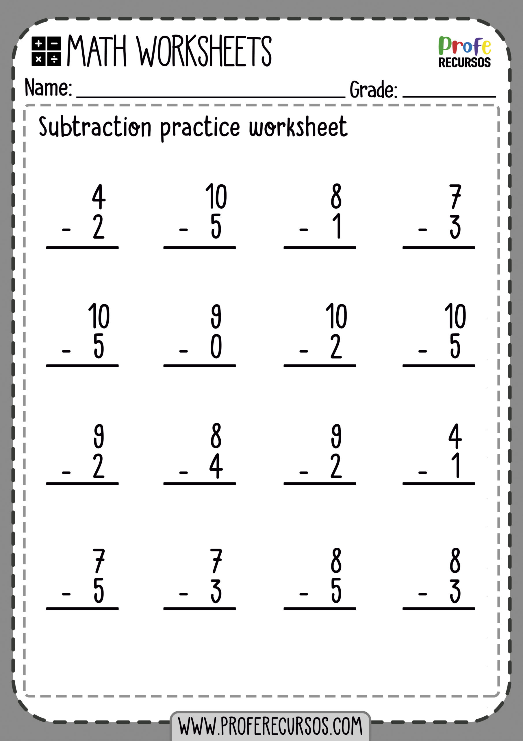 Subtraction No Regrouping