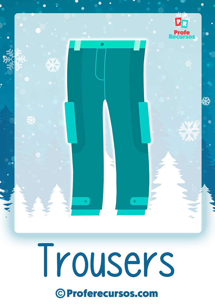 Winter clothes flashcards set