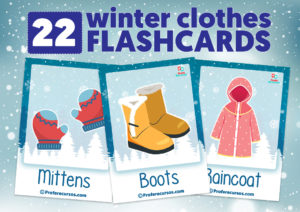 Winter clothes picture cards